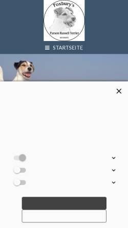 Vorschau der mobilen Webseite www.foxburys.de, Foxbury's