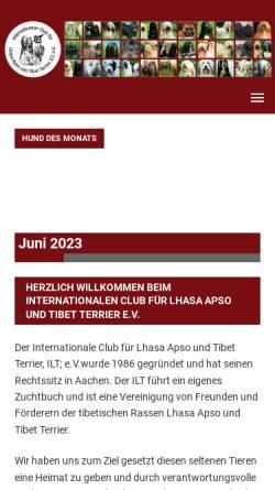 Vorschau der mobilen Webseite www.ilt-tibet.de, Internationaler Club für Lhasa Apso und Tibet Terrier e.V.