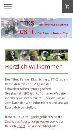 Vorschau der mobilen Webseite www.tibetterrier.ch, Tibet Terrier Klub der Schweiz