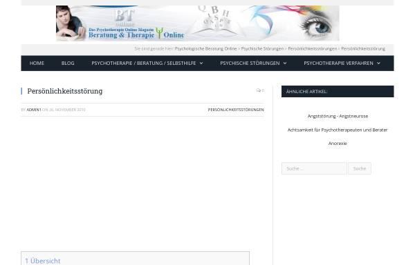 Vorschau von www.btonline.de, Beratung und Therapie online