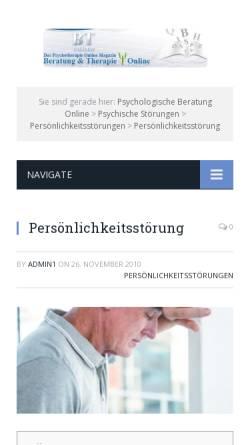 Vorschau der mobilen Webseite www.btonline.de, Beratung und Therapie online