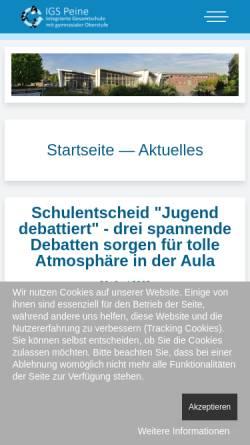 Vorschau der mobilen Webseite www.igspeine.de, Integrierte Gesamtschule Peine