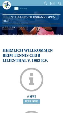 Vorschau der mobilen Webseite www.tclilienthal.de, Tennis Club Lilienthal e.V.