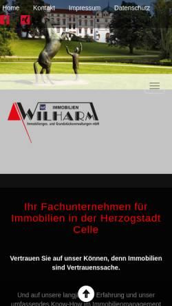 Vorschau der mobilen Webseite www.wilharm.de, Wilharm Immobiliengesellschaft und Grundstücksverwaltungen mbH