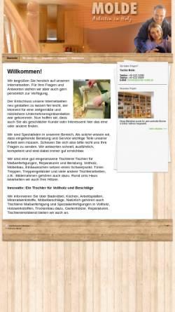 Vorschau der mobilen Webseite www.tischler-molde.de, Tischlerei Molde