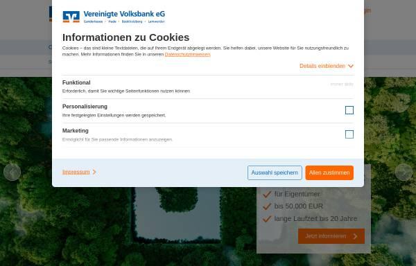 Vorschau von www.vereinigtevolksbankeg.de, Volksbank Ganderkesee-Hude eG