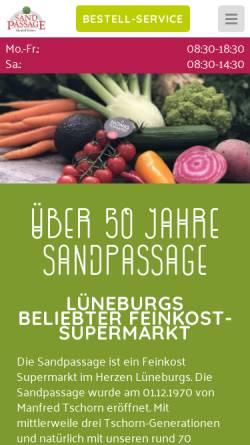 Vorschau der mobilen Webseite www.sandpassage.de, Sandpassage Manfred Tschorn GmbH & Co