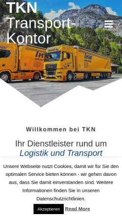 Vorschau der mobilen Webseite www.spedition-tkn.de, TKN Transportkontor GmbH