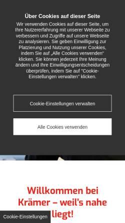 Vorschau der mobilen Webseite www.baustoffe-kraemer.de, Baustoffe Krämer GmbH & Co KG