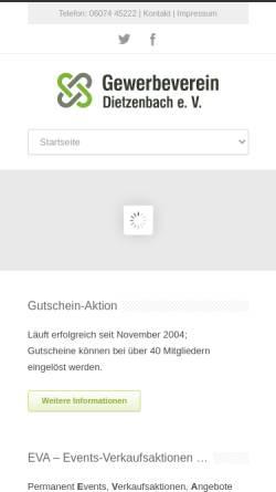 Vorschau der mobilen Webseite www.gv-dietzenbach.de, Gewerbeverein Dietzenbach