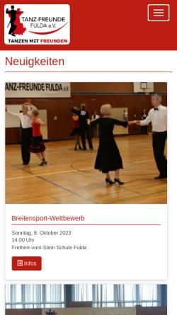 Vorschau der mobilen Webseite www.tanz-freunde-fulda.de, Tanz-Freunde Fulda e.V.