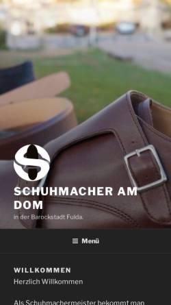 Vorschau der mobilen Webseite www.schuhmacher-am-dom.de, Schuhmachermeister Andreas Kugler