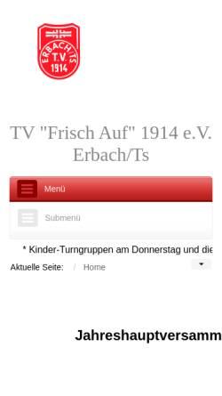 Vorschau der mobilen Webseite www.tv-erbach.de, TV Frisch Auf 1914 e.V. Erbach/Ts