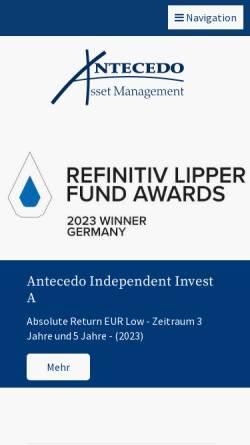 Vorschau der mobilen Webseite www.antecedo.eu, Antecedo Asset Management GmbH