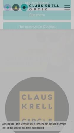 Vorschau der mobilen Webseite www.claus-krell-optik.de, Claus Krell Optik