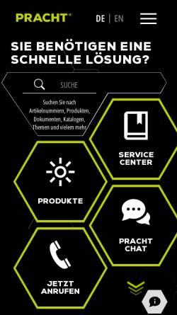Vorschau der mobilen Webseite pracht.com, Alfred Pracht Lichttechnik GmbH