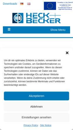 Vorschau der mobilen Webseite www.heck-becker.com, Heck & Becker GmbH & Co. KG