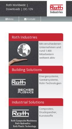Vorschau der mobilen Webseite www.roth-industries.de, Roth Industries GmbH & Co. KG
