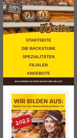Vorschau der mobilen Webseite www.backstube-weller.de, Bäckerei & Konditorei Hartmut Weller