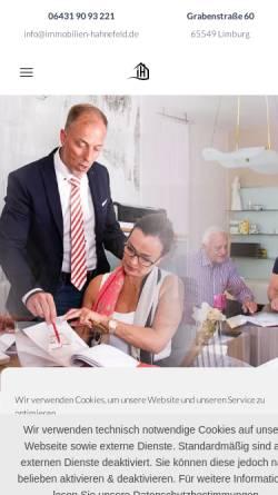 Vorschau der mobilen Webseite immobilien-hahnefeld.de, Immobilien Frank Hahnefeld