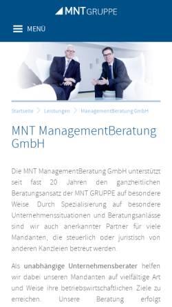 Vorschau der mobilen Webseite www.mnt-managementberatung.de, MNT Revision und Treuhand GmbH