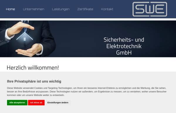 Vorschau von www.swe-gmbh.com, SWE Sicherheits- und Elektrotechnik GmbH