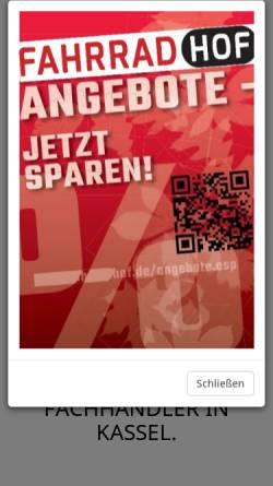 Vorschau der mobilen Webseite www.fahrradhof.de, Fahrradhof Kassel