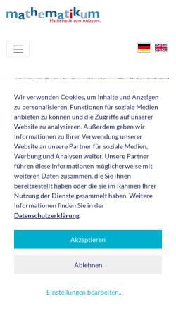 Vorschau der mobilen Webseite www.mathematikum.de, Mathematikum