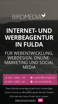 Vorschau der mobilen Webseite www.birdmedia.de, Birdmedia