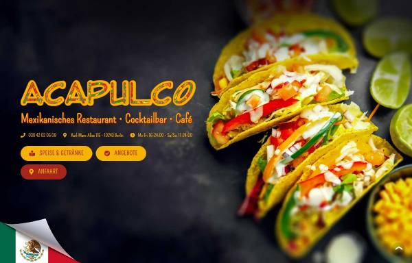 Vorschau von acapulco-berlin.de, Acapulco - Restaurantbetrieb Marabouni