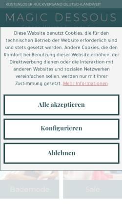 Vorschau der mobilen Webseite www.magic-dessous.de, Rehaland Orthopädietechnik GmbH - Abteilung magic-dessous