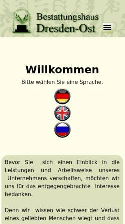 Vorschau der mobilen Webseite www.bestattungshaus-dresden-ost.de, Bestattungshaus Dresden-Ost