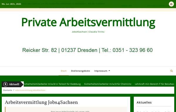 Vorschau von www.jobs4sachsen.de, Jobs4Sachsen - private Arbeitsvermittlung