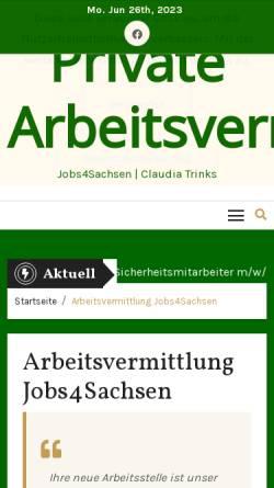Vorschau der mobilen Webseite www.jobs4sachsen.de, Jobs4Sachsen - private Arbeitsvermittlung