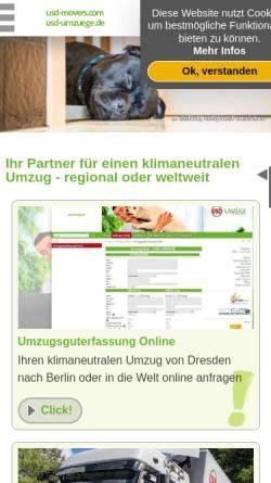 Vorschau der mobilen Webseite www.usdumzuege.de, USD Umzugsservice GmbH