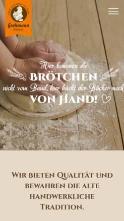 Vorschau der mobilen Webseite www.baeckereigrohmann.de, Feinbäckerei - Konditorei Rainer Grohmann