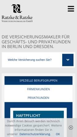 Vorschau der mobilen Webseite www.rrvm.de, Ratzke & Ratzke Versicherungsmakler