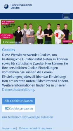 Vorschau der mobilen Webseite www.hwk-dresden.de, Handwerkskammer Dresden