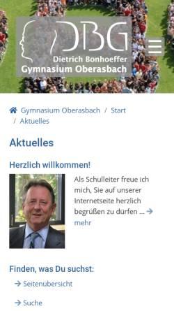 Vorschau der mobilen Webseite www.gym-oberasbach.de, Dietrich-Bonhoeffer-Gymnasium
