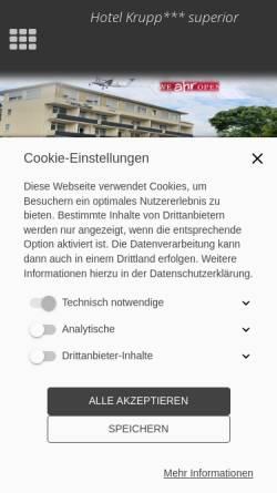Vorschau der mobilen Webseite hotel-krupp.de, Hotel Krupp