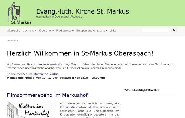Vorschau von www.st-markus-oberasbach.de, Evangelisch-Lutherische Kirchengemeinde St. Markus