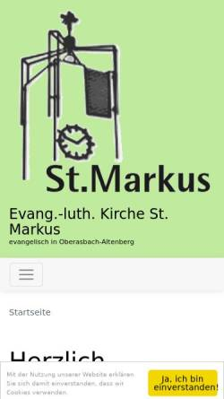 Vorschau der mobilen Webseite www.st-markus-oberasbach.de, Evangelisch-Lutherische Kirchengemeinde St. Markus