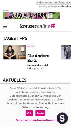 Vorschau der mobilen Webseite kreuzer-leipzig.de, Kreuzer