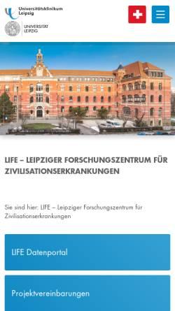 Vorschau der mobilen Webseite life.uni-leipzig.de, Leipzig life