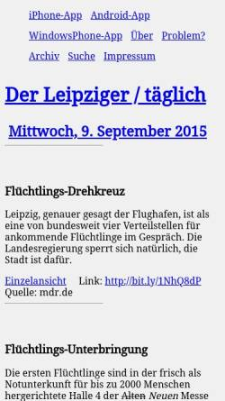 Vorschau der mobilen Webseite derleipziger.de, Der Leipziger