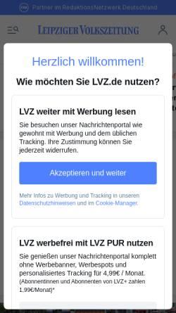 Vorschau der mobilen Webseite www.lvz.de, Leipziger Volkszeitung Online