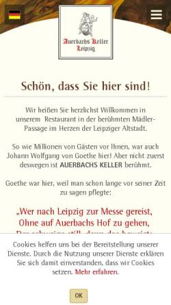Vorschau der mobilen Webseite www.auerbachs-keller-leipzig.de, Auerbachs Keller Leipzig