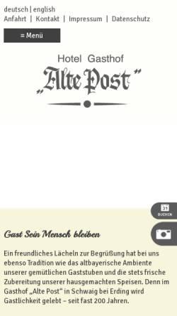 Vorschau der mobilen Webseite www.altepost-schwaig.de, Gasthaus alte Post