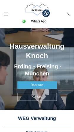 Vorschau der mobilen Webseite www.hv-knoch.de, Hausverwaltung Knoch
