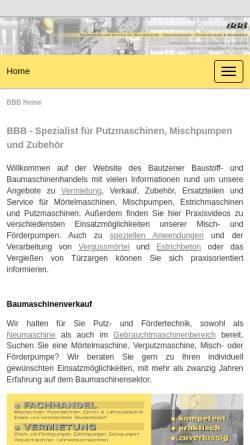 Vorschau der mobilen Webseite www.bbb-online.de, Bautzener Baustoff- und Baumaschinenhandel GmbH